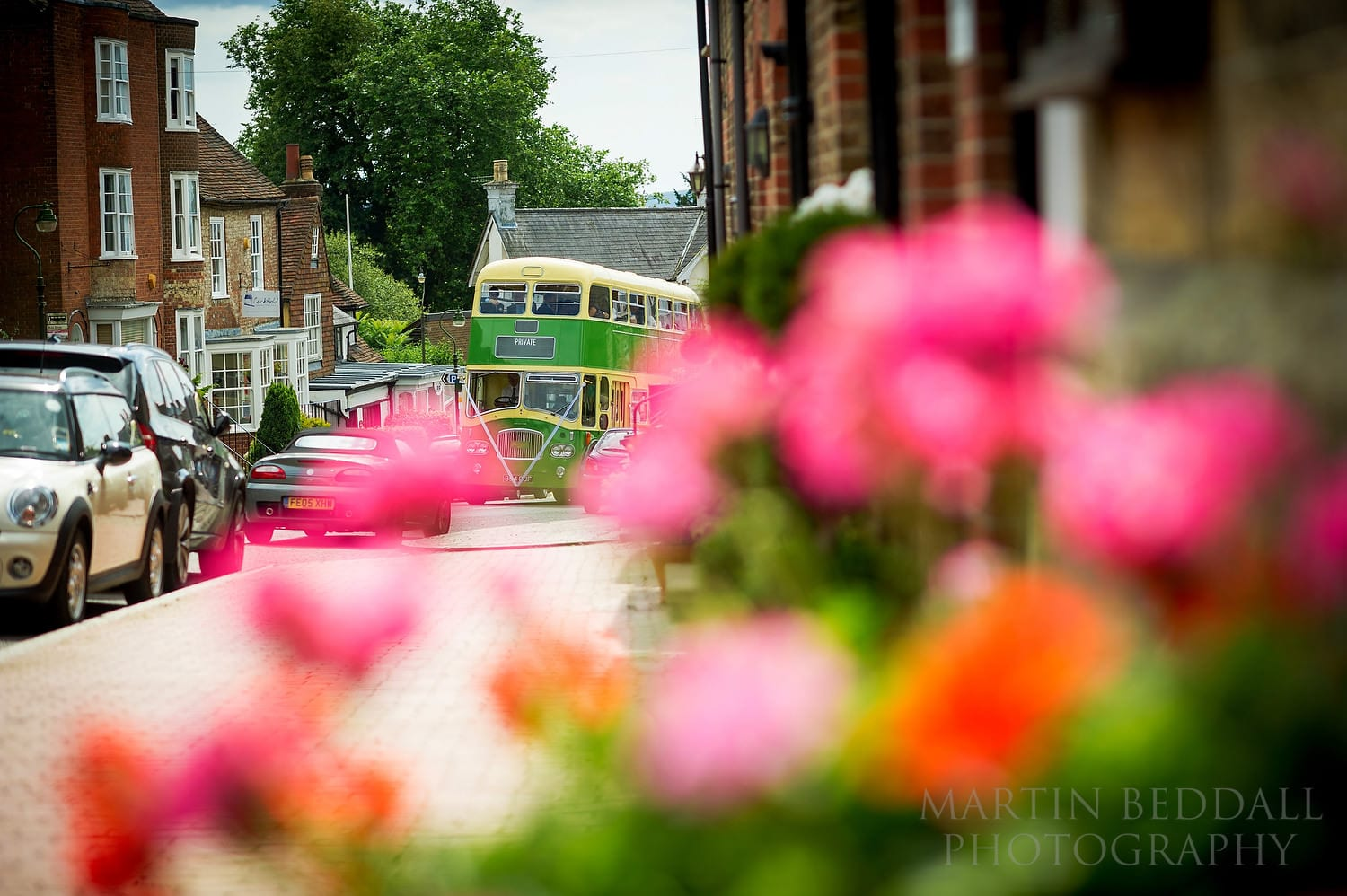 Wedding bus arrives at the Queen's Hall in Cuckfield