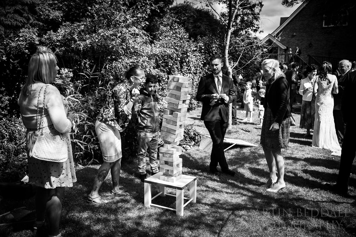Collapsing Jenga at Queen's Hall wedding