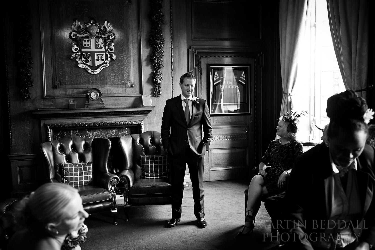 Groom waits for the ceremony at Mayor's Parlour wedding
