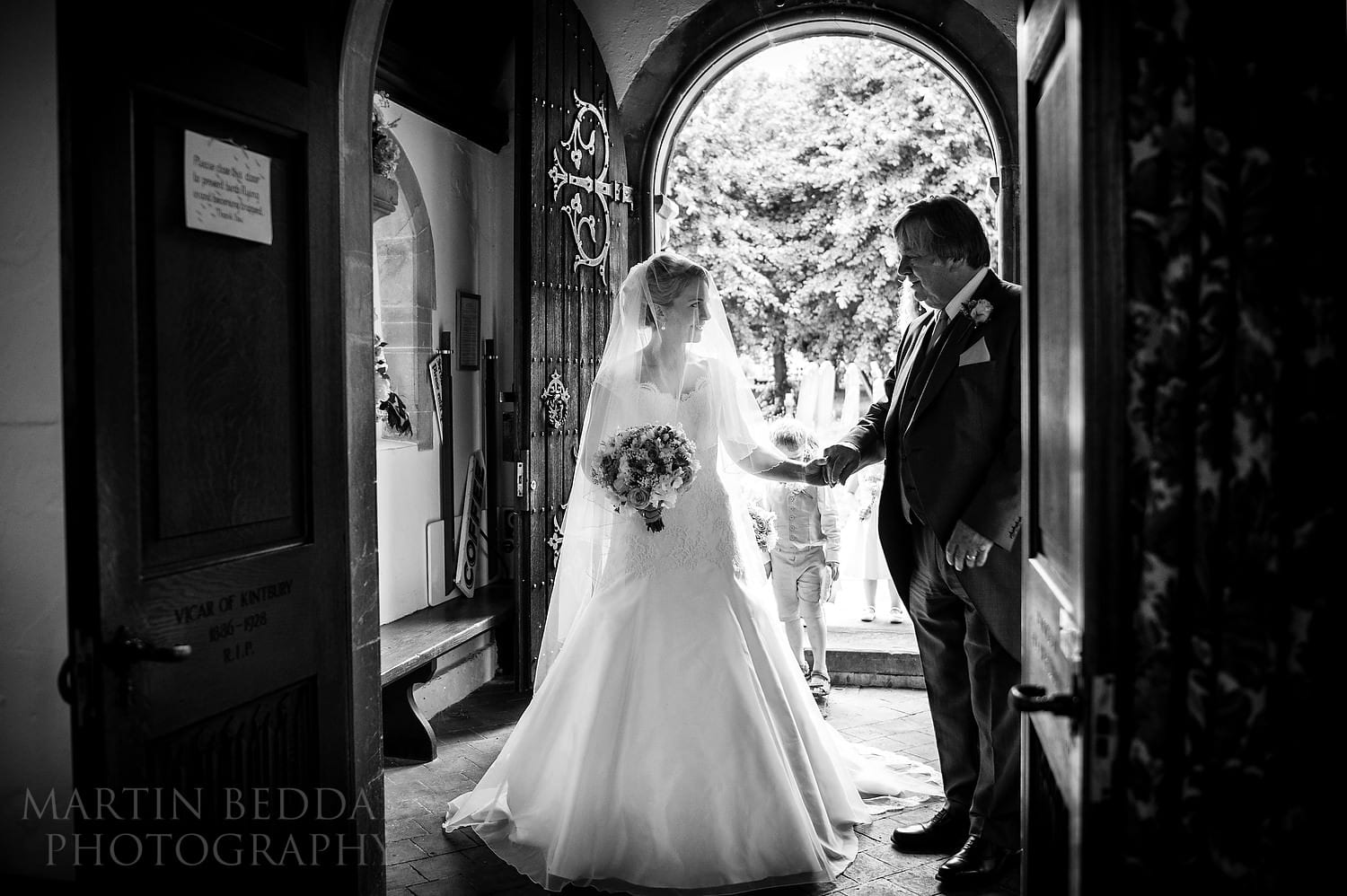 Bride and her father before entering the church