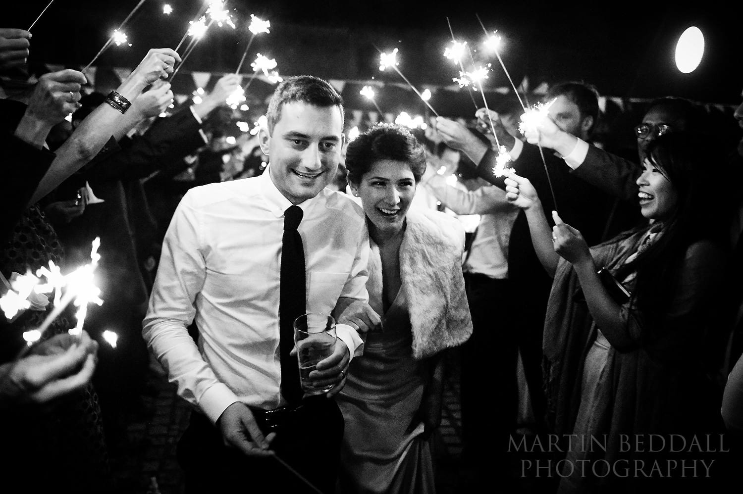 Night sparklers at Layer Marney Tower wedding