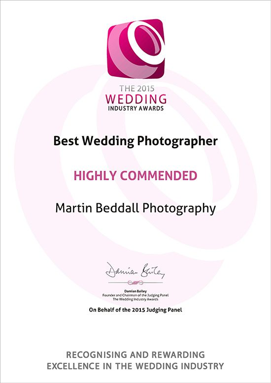 Highly Commended award in National wedding finals for Martin Beddall