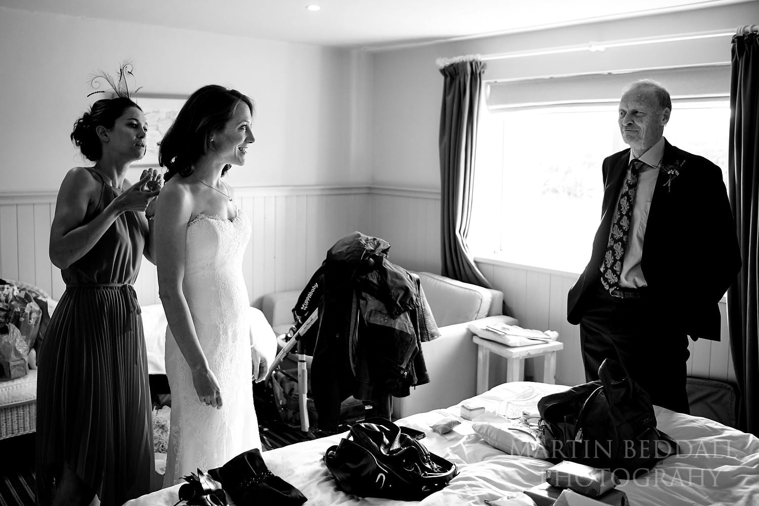 Bride getting ready with her father at The Gallivant
