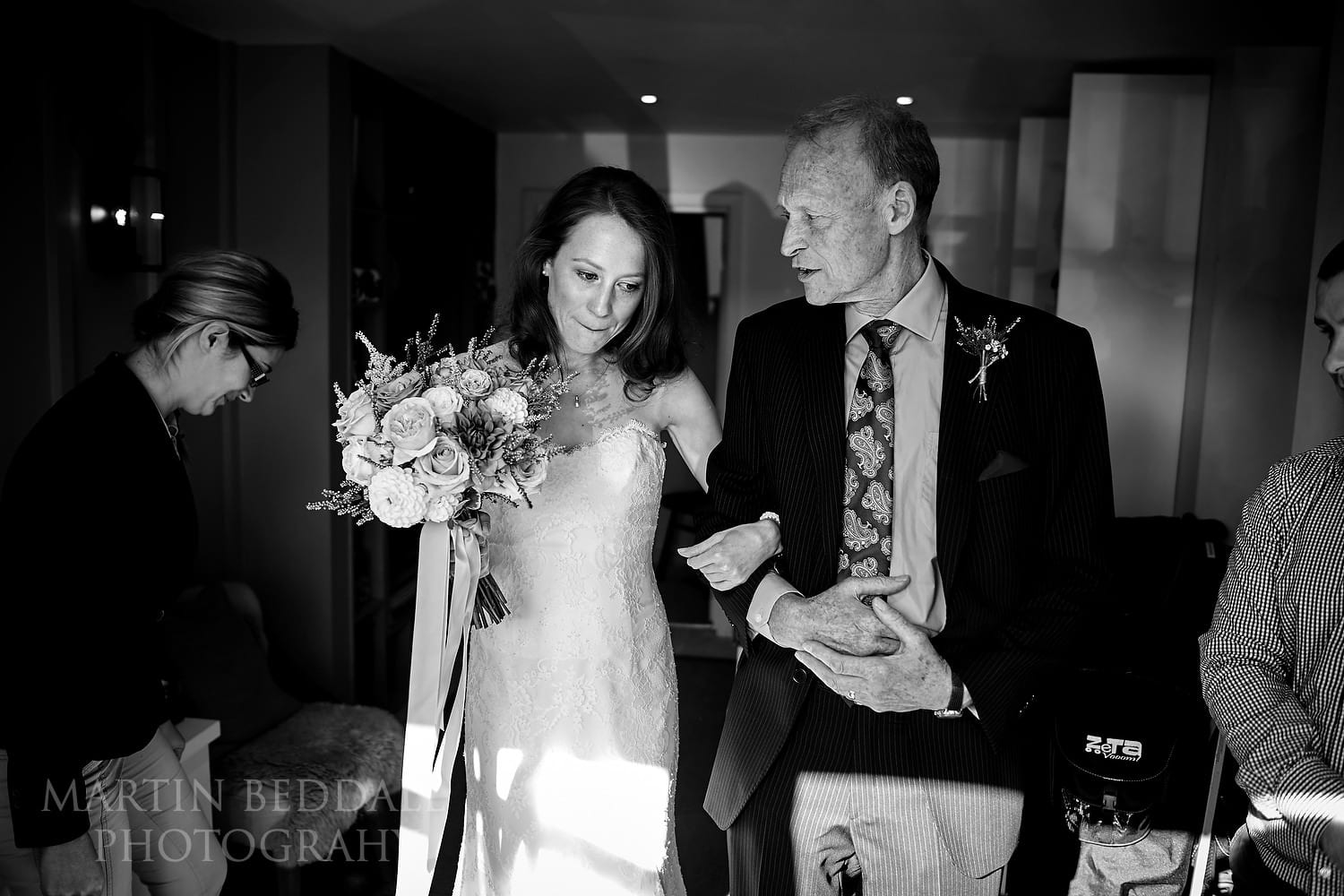 Emotional bride before walking up the aisle