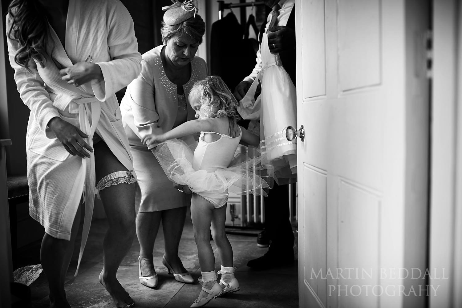 Bride's daughter gets ready