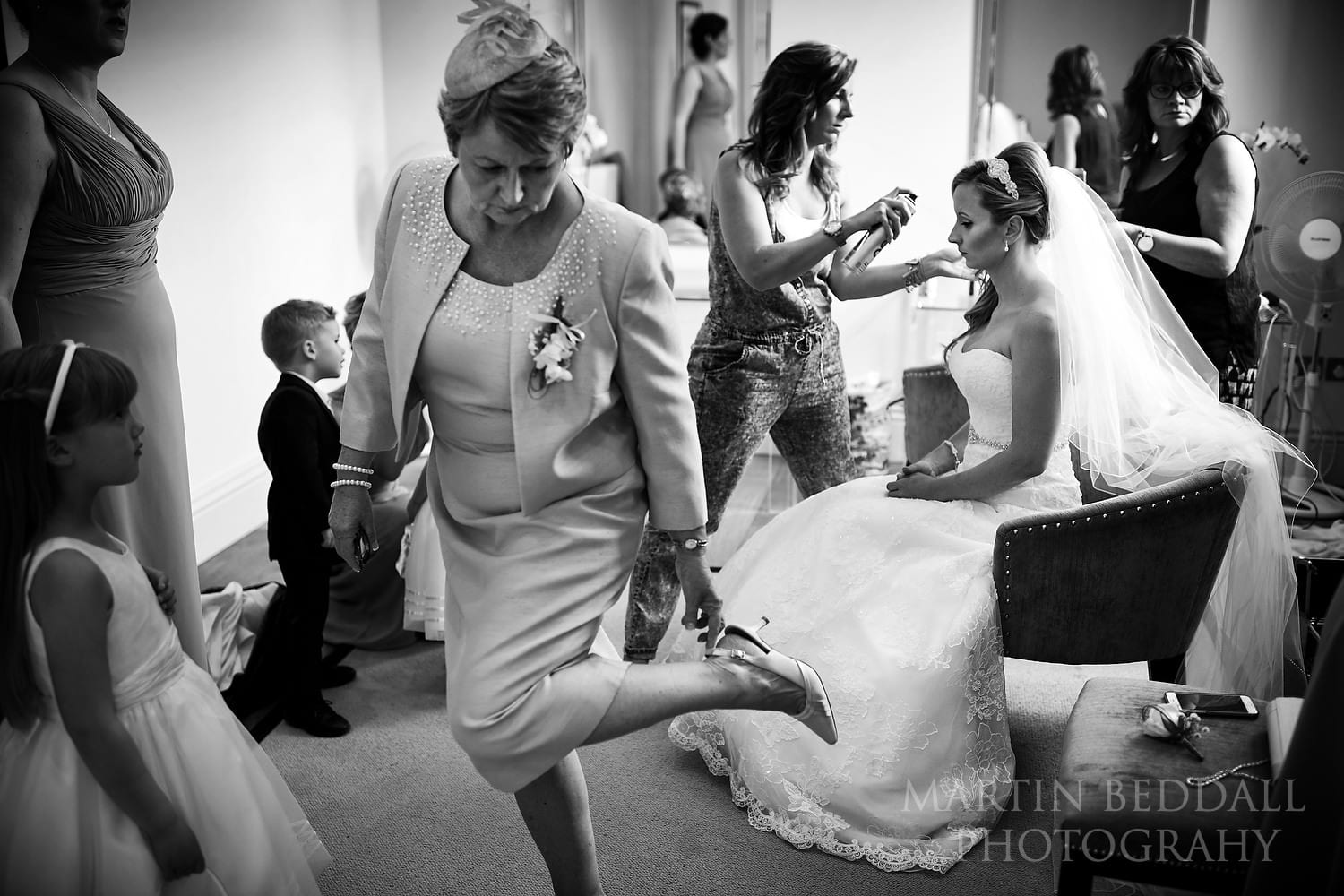 Final preps for bride and family at Braxted Park