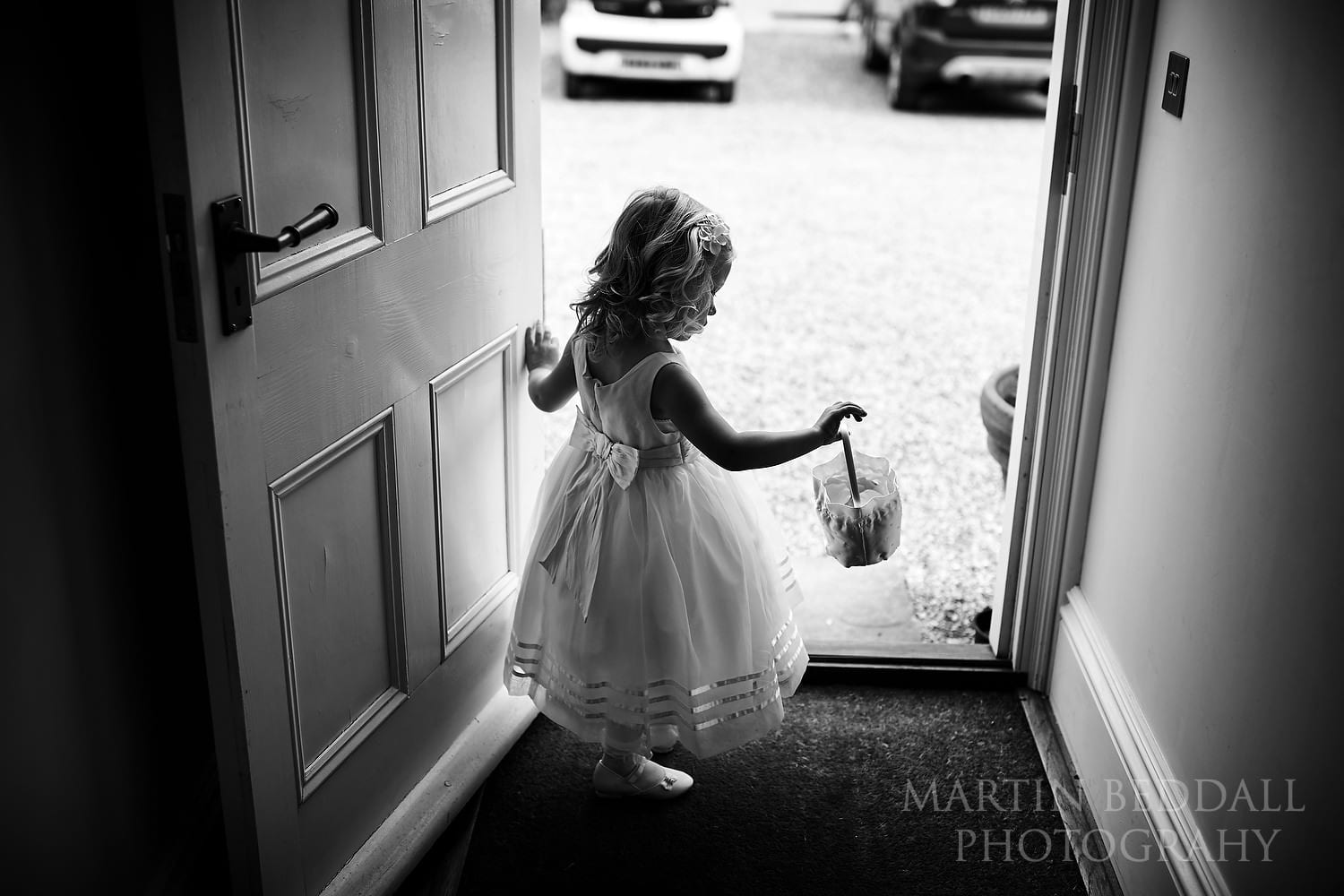 Young daughter as flower girl