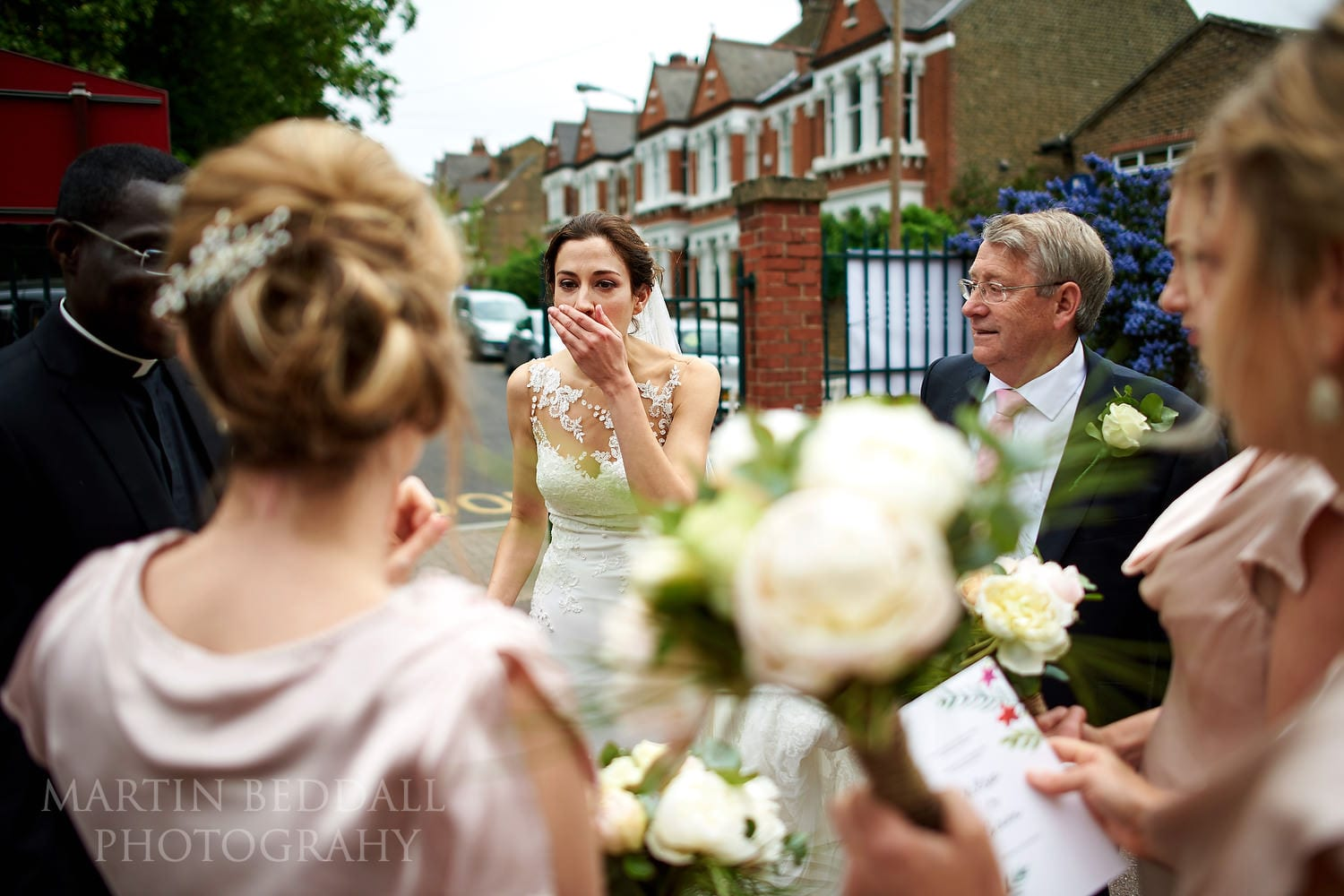Bride realises he forget her flowers