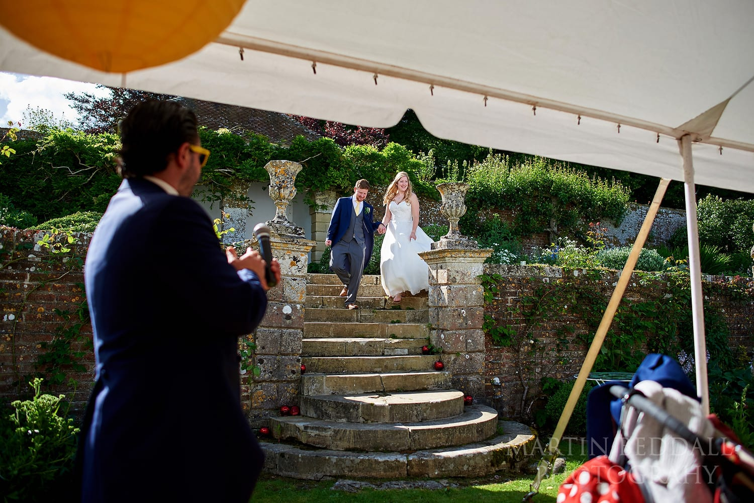 Bride and groom announced into dinner at Hatch House wedding