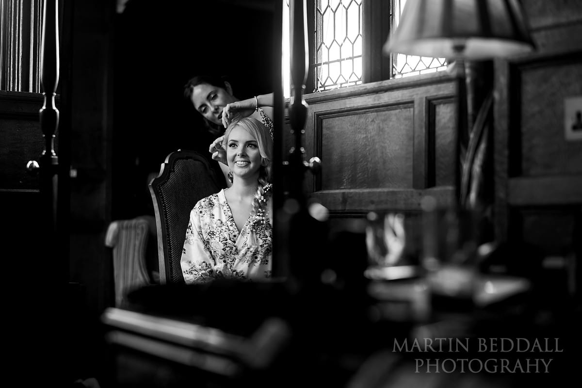 Bride getting ready at Hever Castle