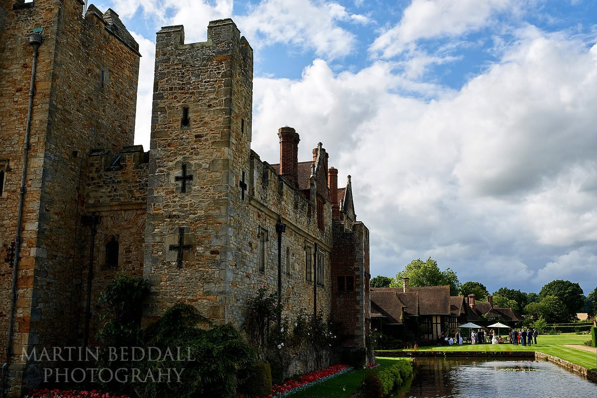 wedding reception on the lawn at Hever Castle