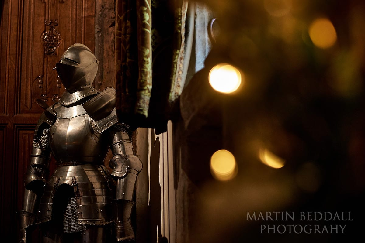 Hever Castle suit of armour in the dining hall