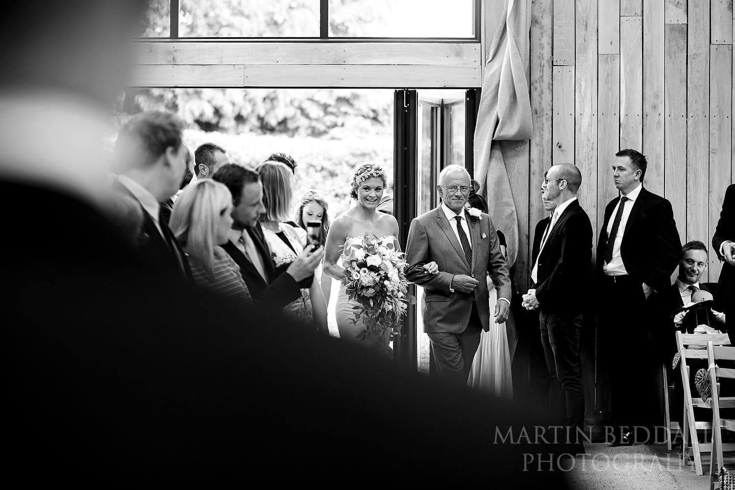 Entrance of the bride and her father at Chafford Park wedding