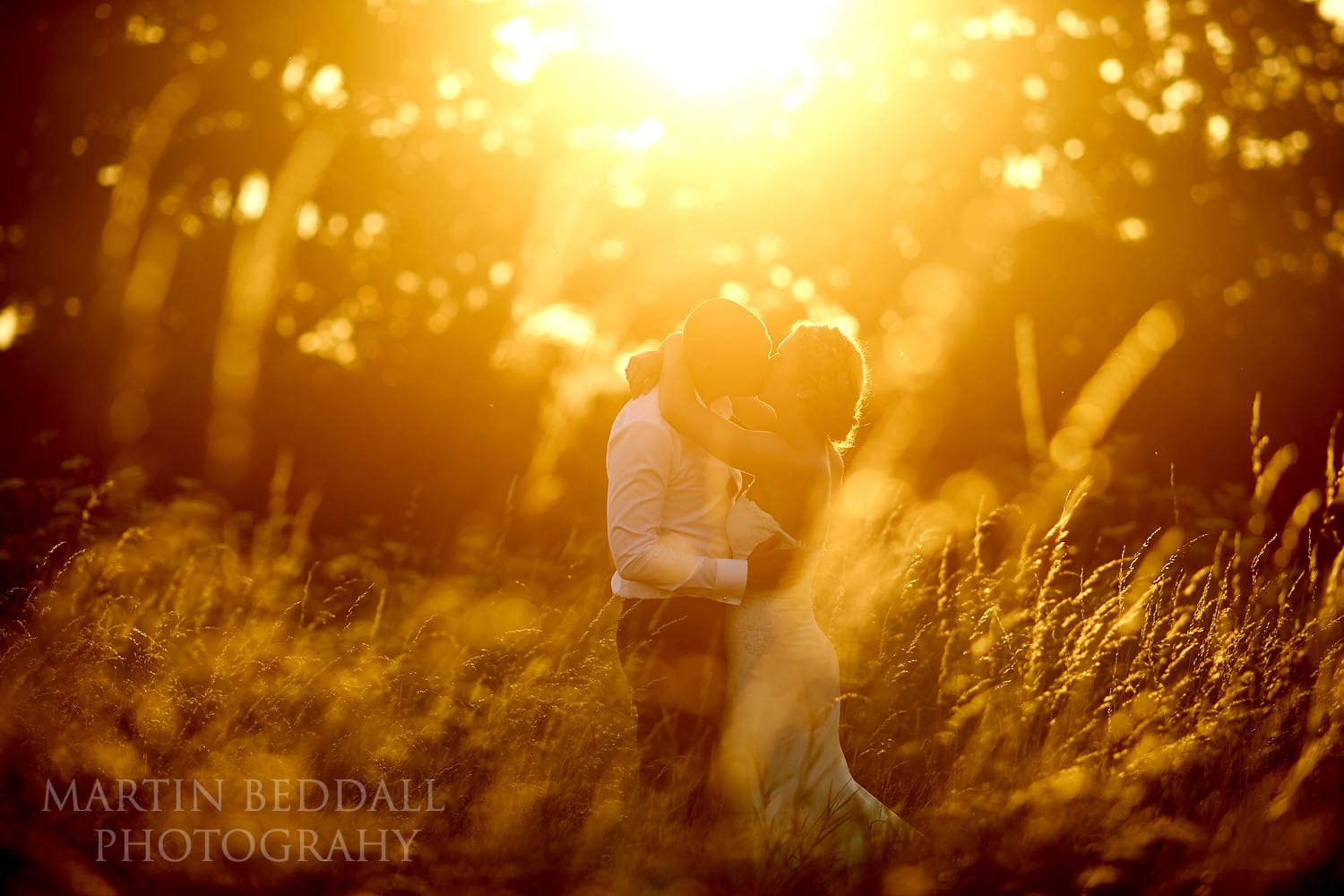 Sunset couple portrait at Chafford Park wedding