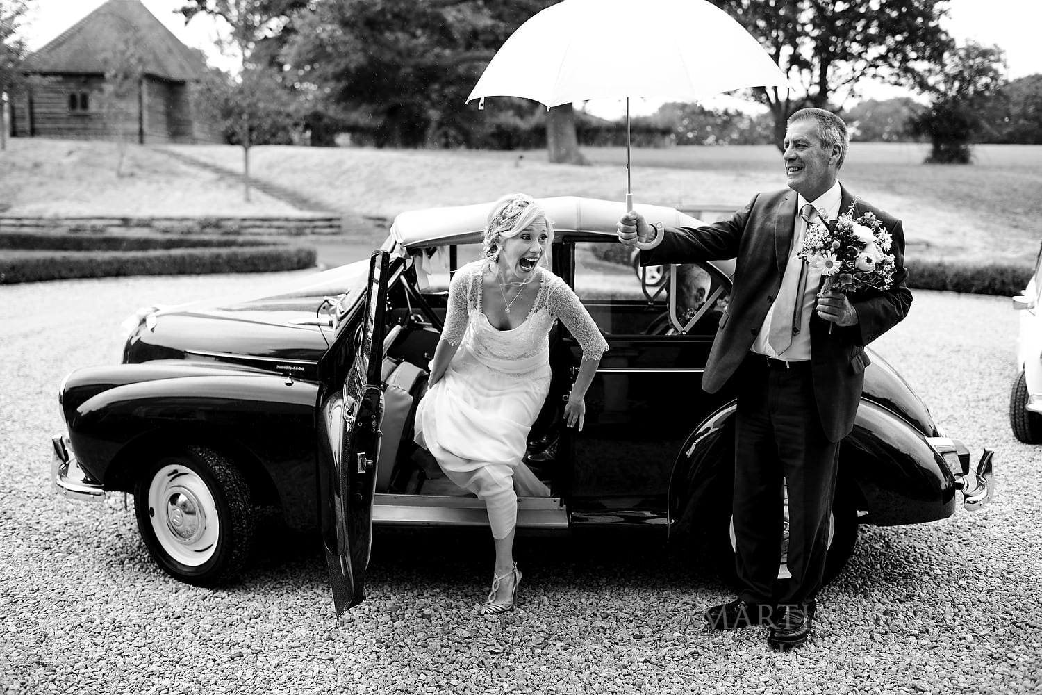Bride arrives at this East Sussex wedding