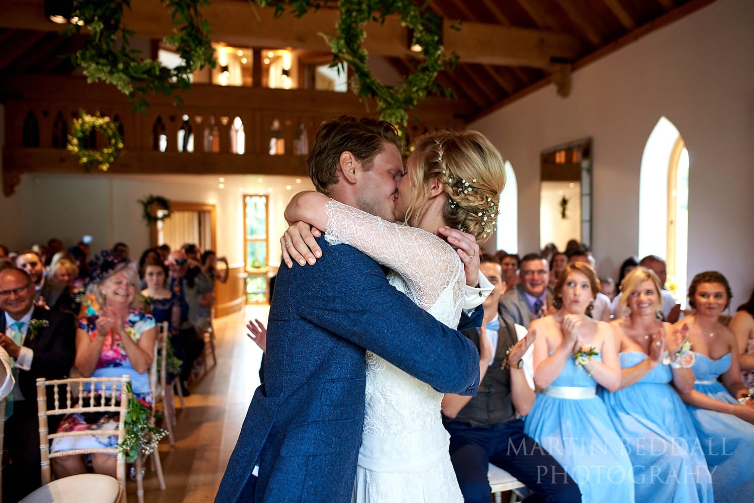 East Sussex wedding ceremony kiss