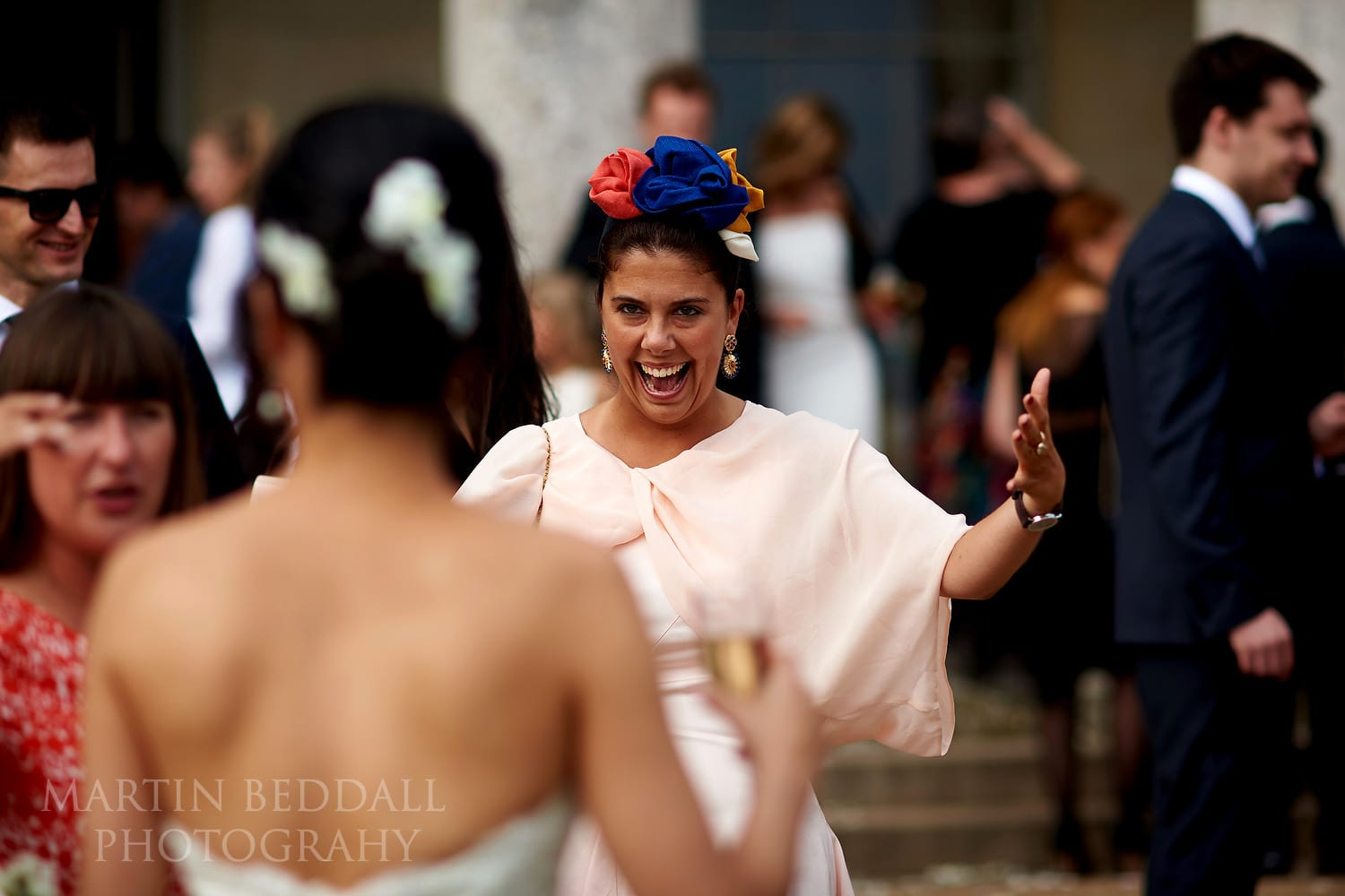Guest rushes to greet the bride