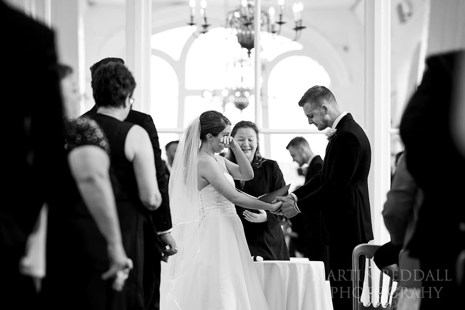Emotional bride at Orangery wedding