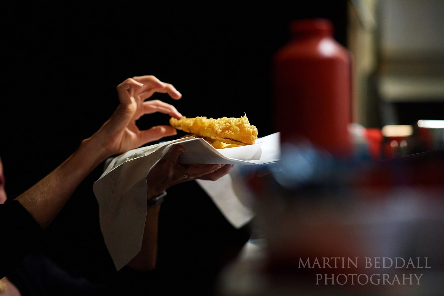 Fish and chips in the evening at Folkington wedding