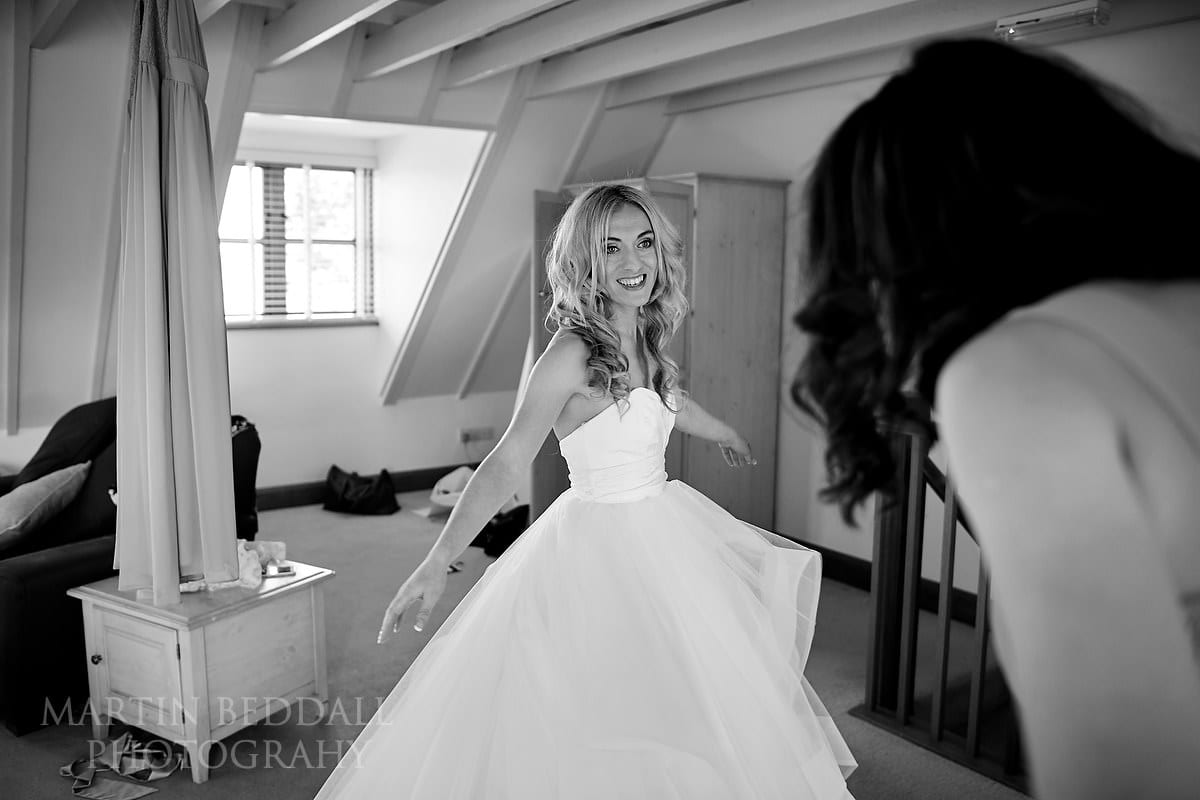 Bride in her wedding dress at Coltsfoot Country Retreat