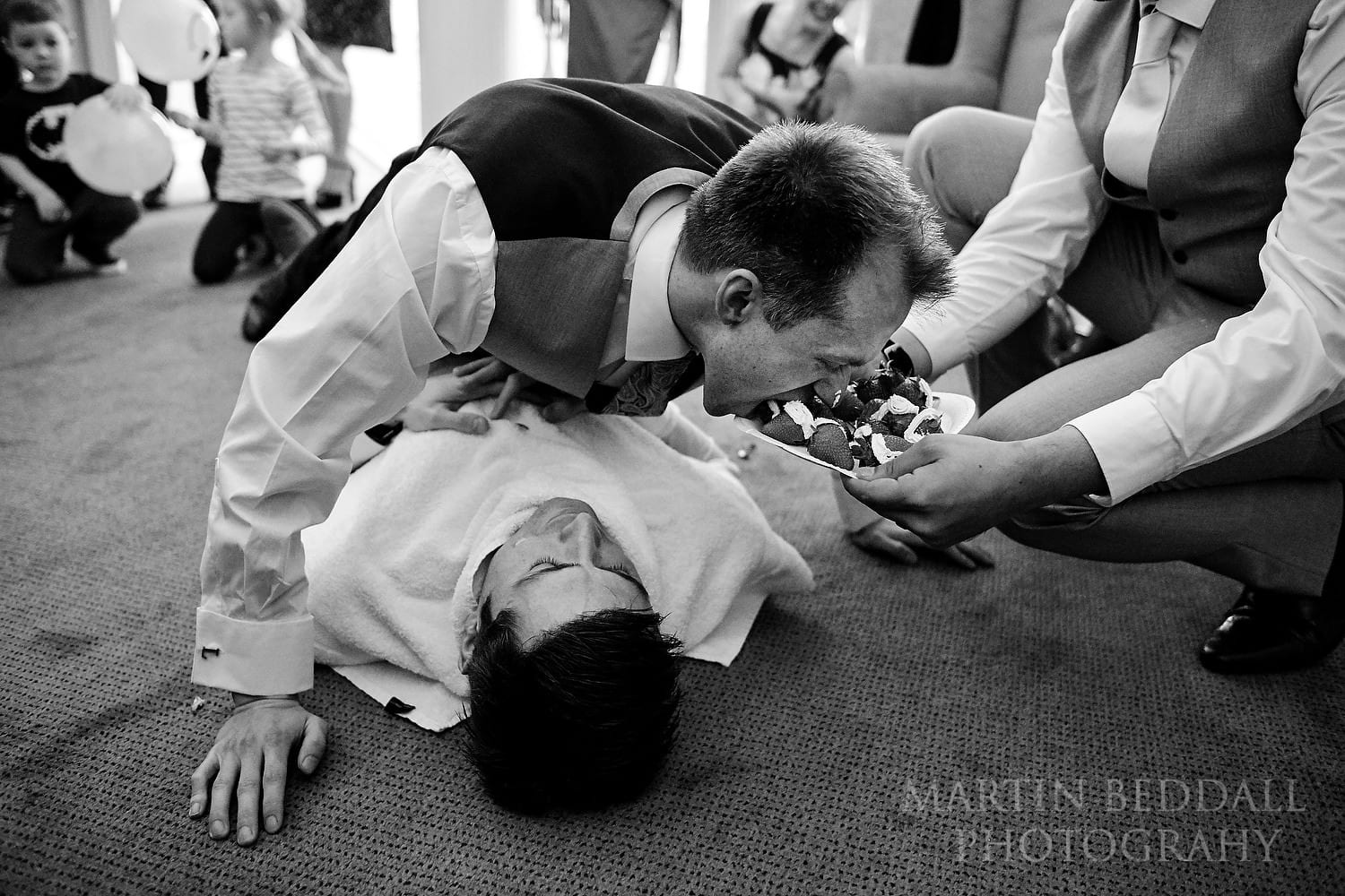 Chinese wedding games for the groom at Buxted Park