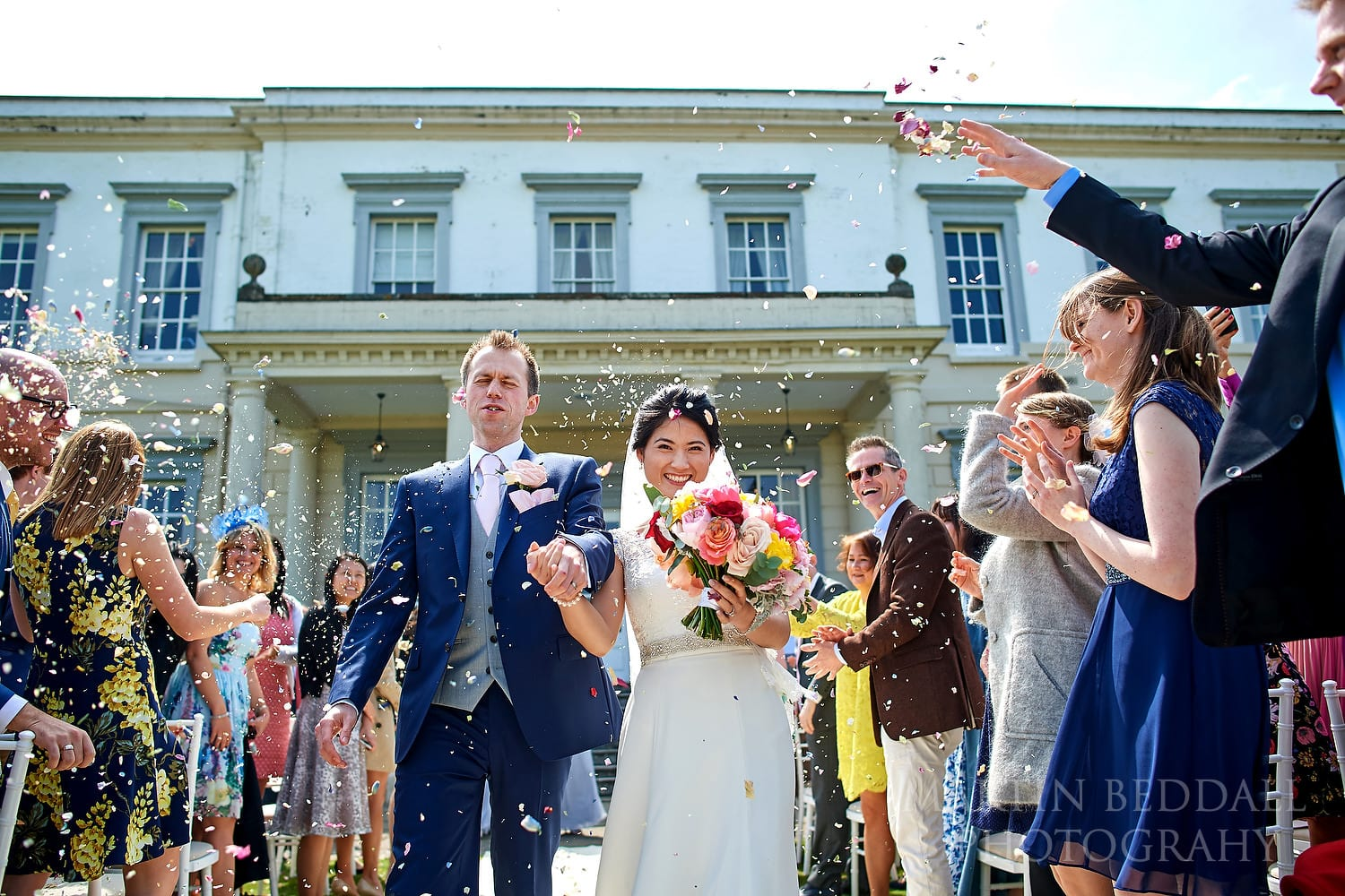 Confetti at Buxted Park wedding