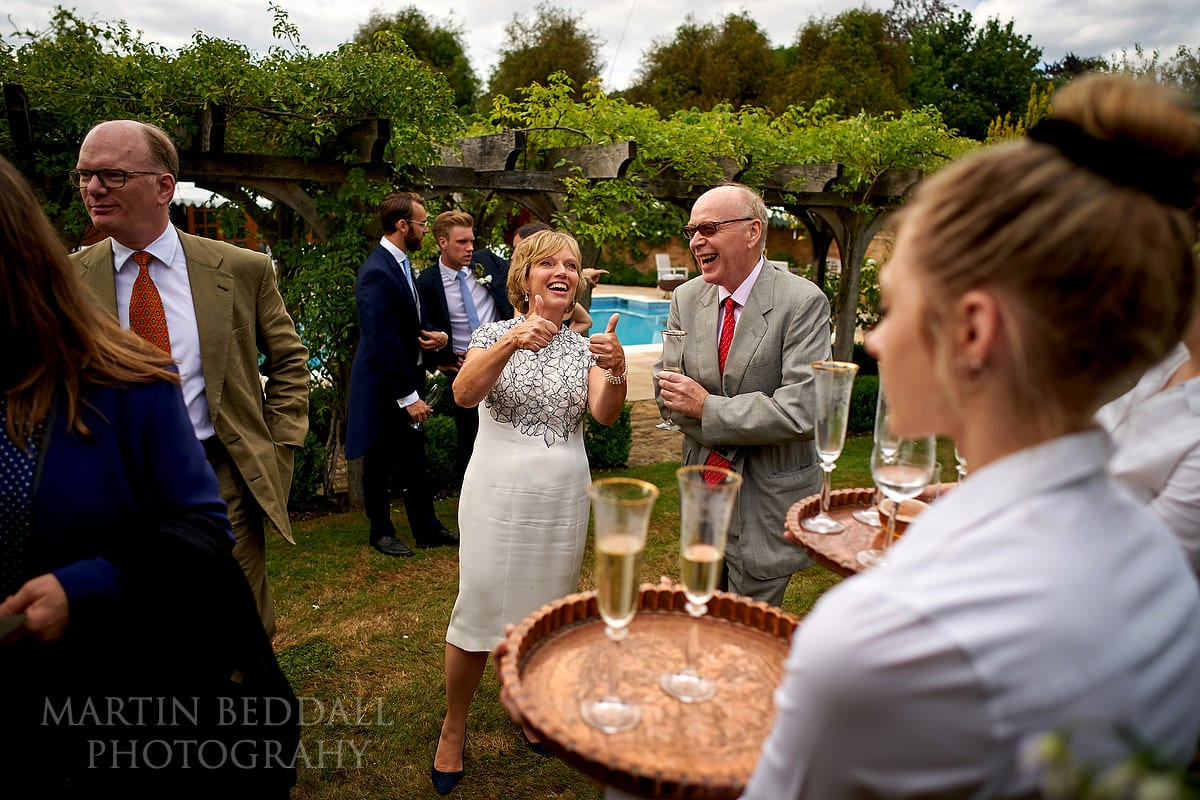 Reception in the garden at East Horsley wedding