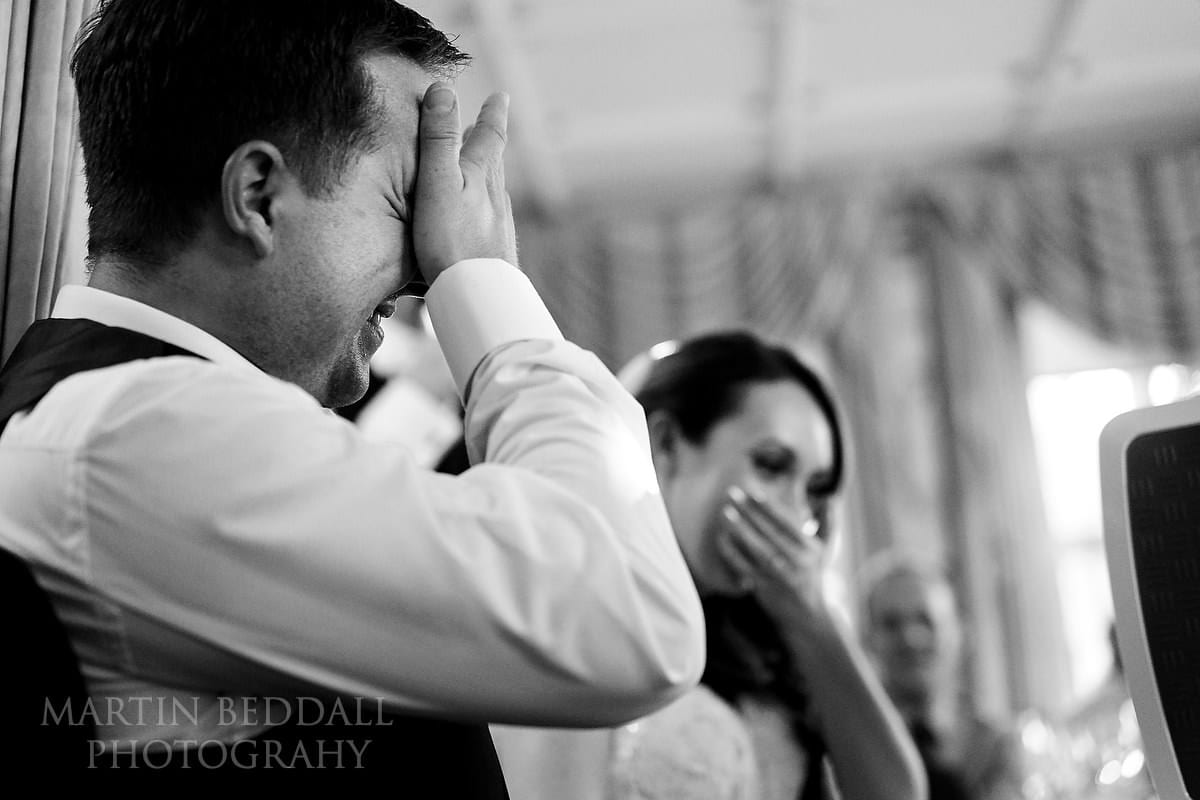 Reacting to Best Man's speech at Horsted Place wedding