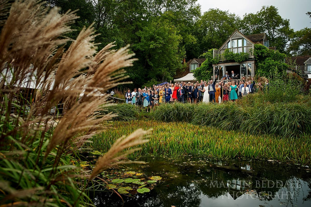 Large group shot at The Copse wedding