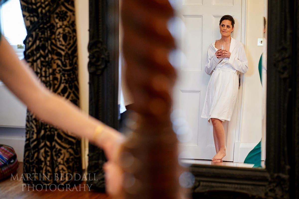 Moment of reflection for the bride