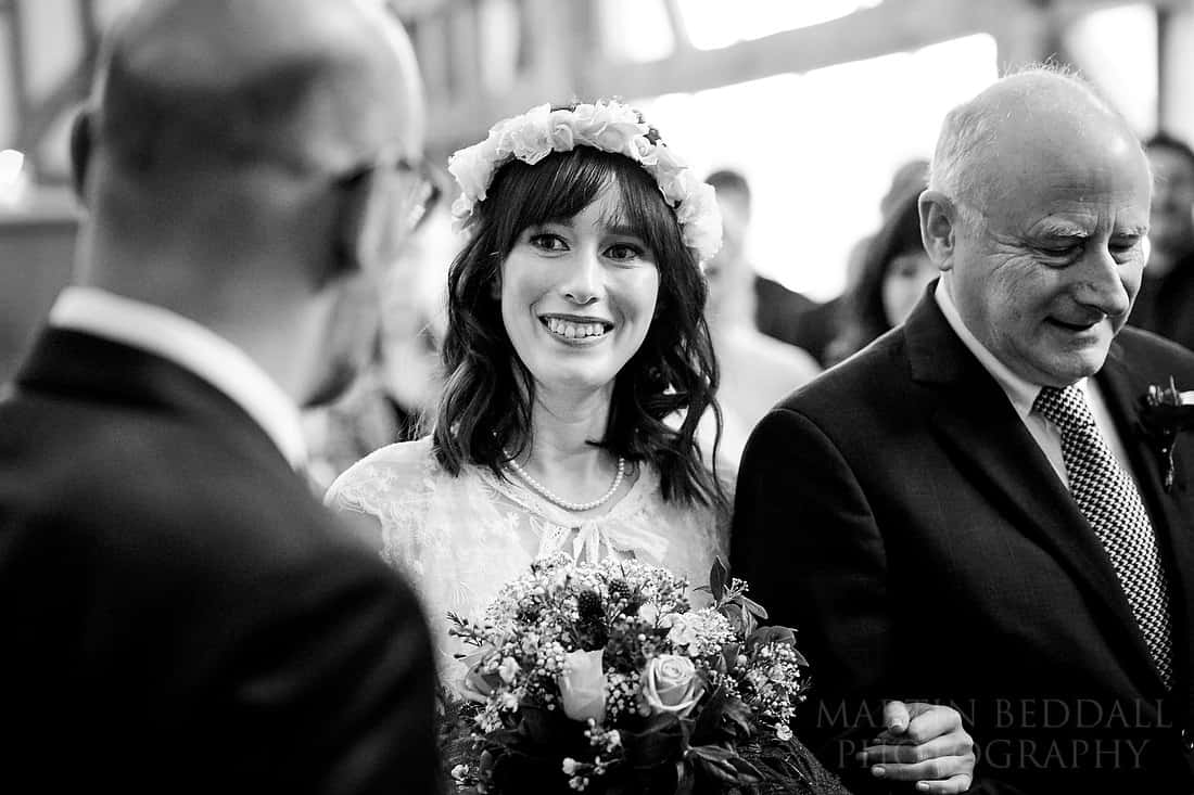 Eye contact between the groom and the bride
