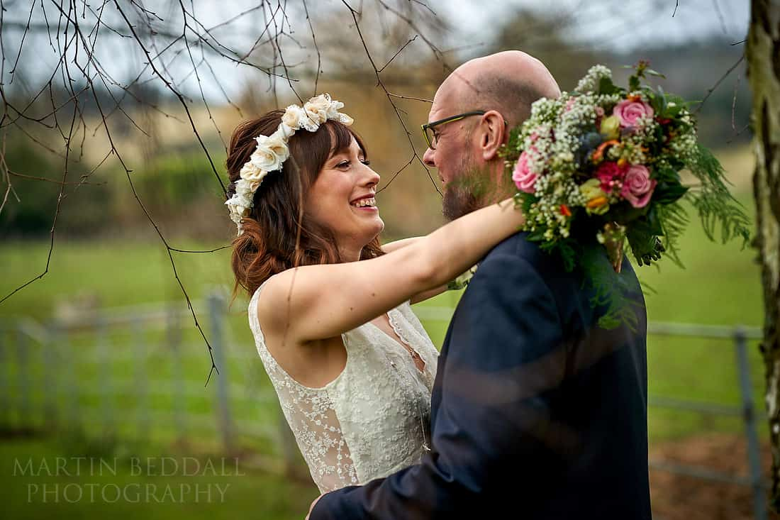 Bride and groom portrait at Gate St