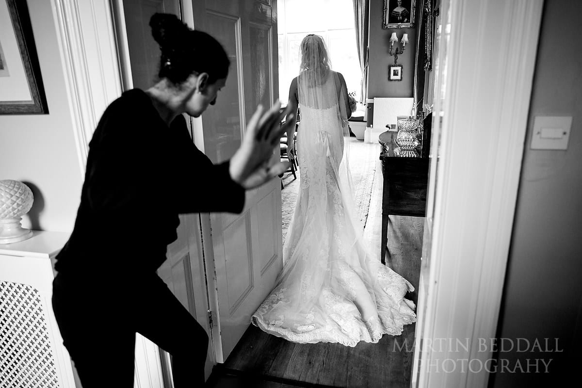 Bride heads in for her interview with the registrar