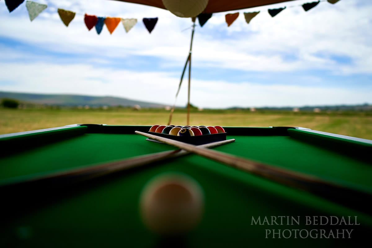 Pool table at The Party Field wedding