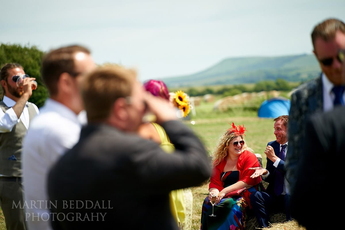 Drinks reception in field near the South Downs