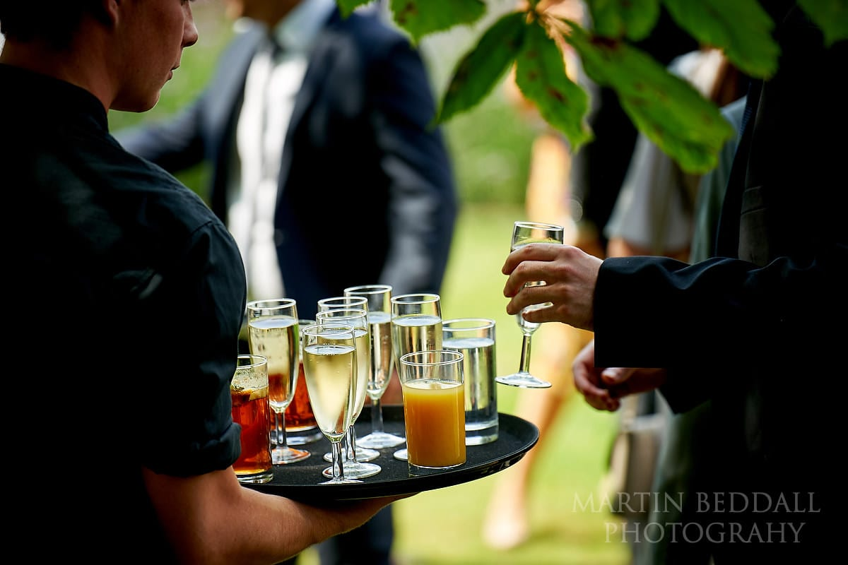 Drinks at Marquee in the garden wedding