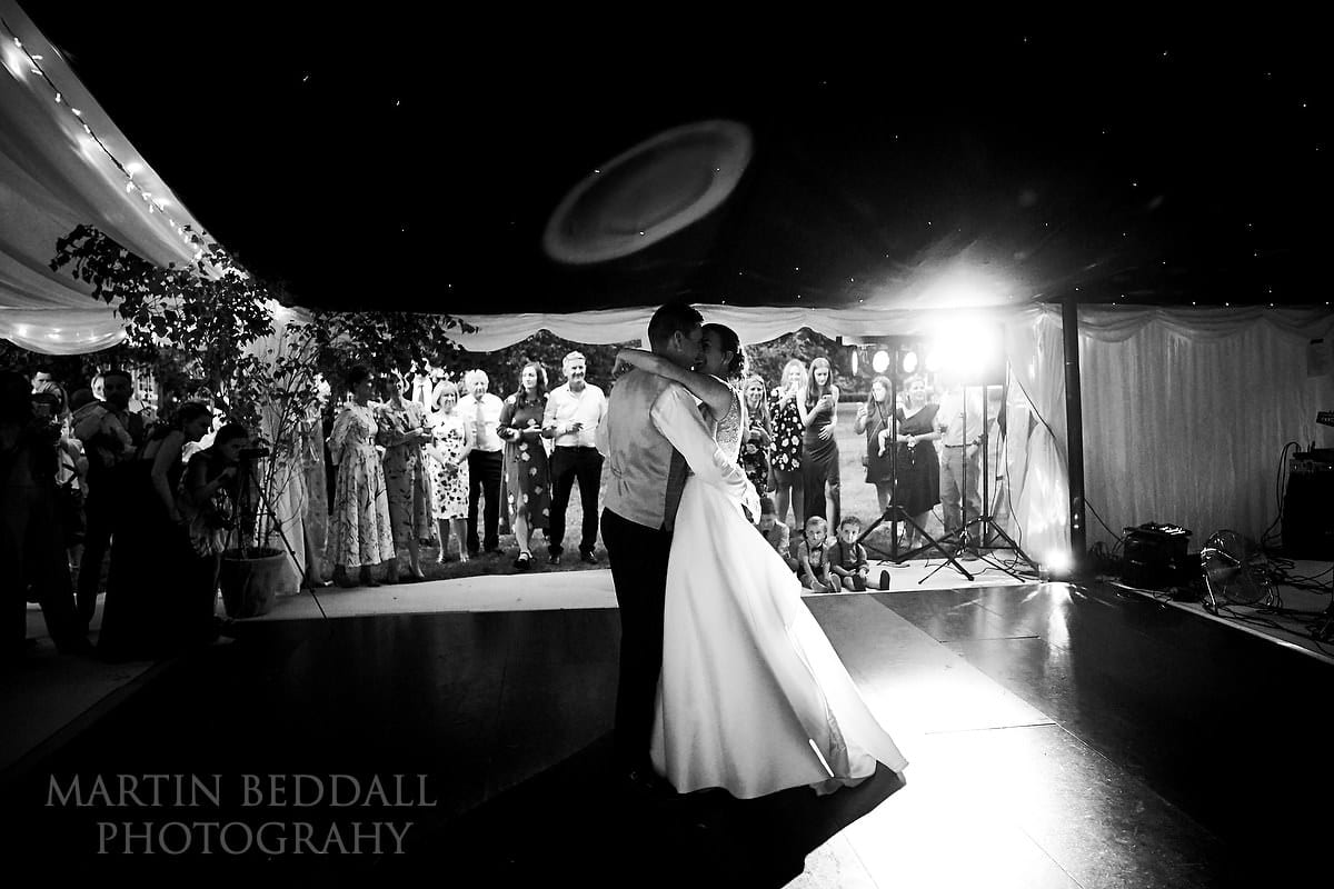First dance at Marquee in the garden wedding