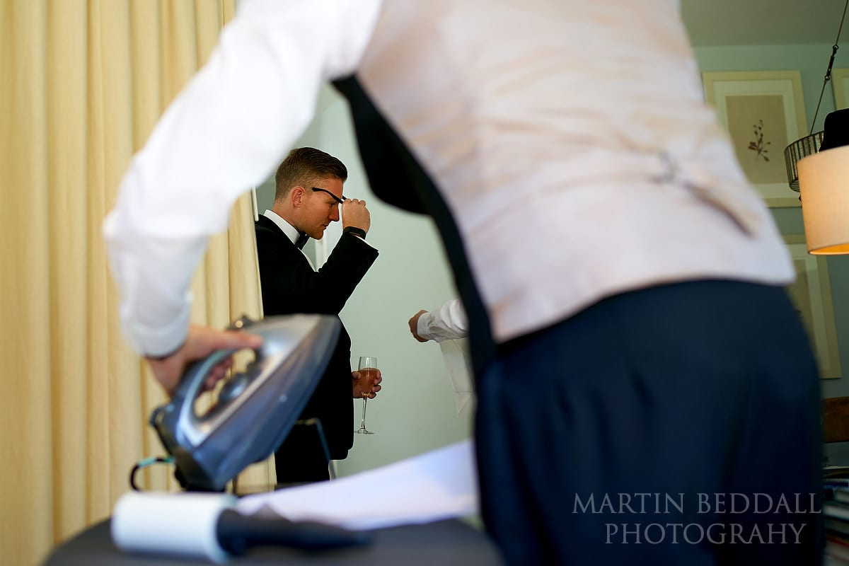Groomsmen getting ready at Barnsley House