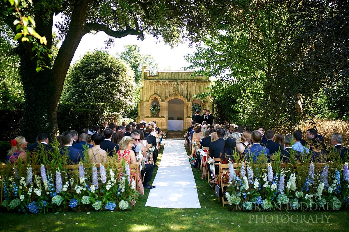 Ooutdoor wedding ceremony at Barnsley House