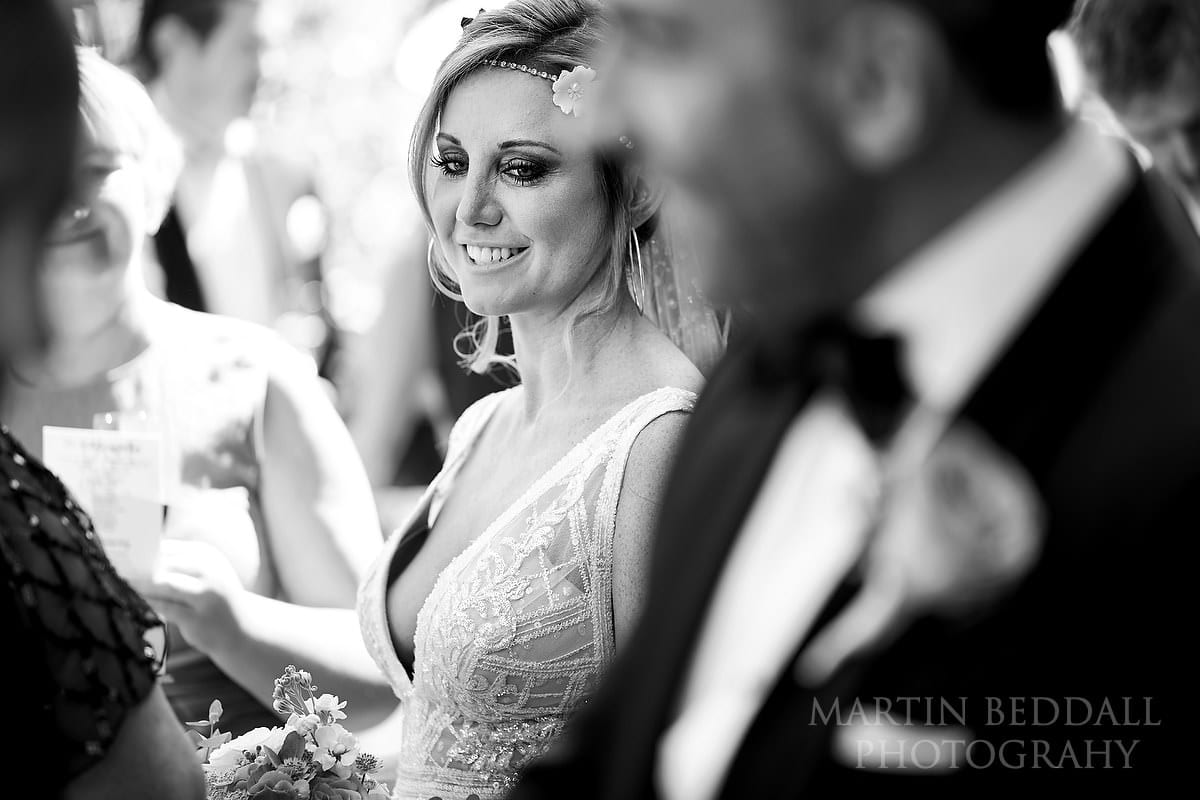 Bride at Barnsley House  wedding reception