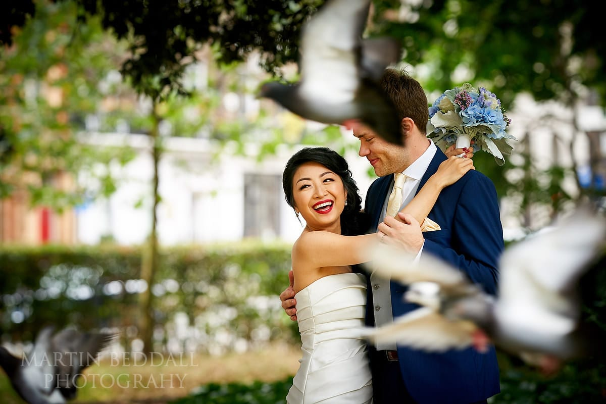 Couple portrait in the small square opposite Bloomsbury House wedding