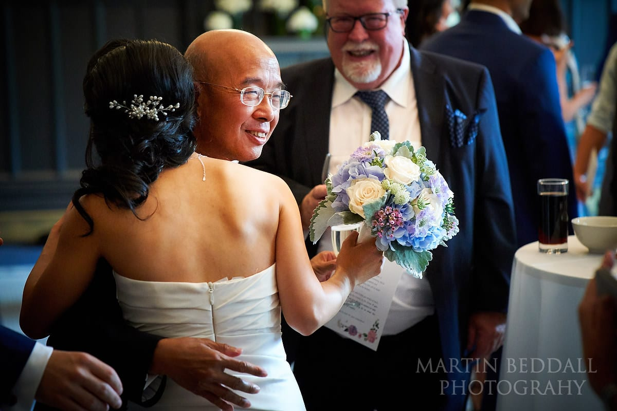 Hug for the bride at Bloomsbury House wedding