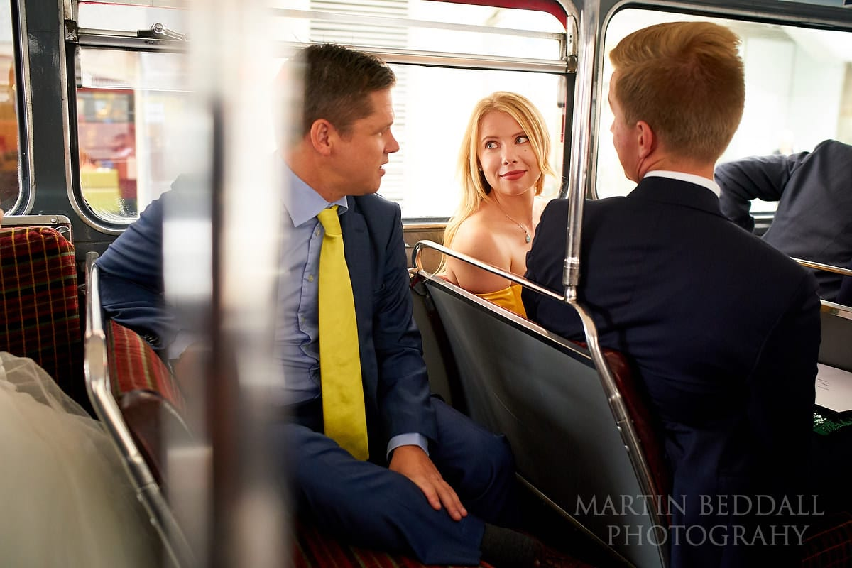 Guests on London wedding bus