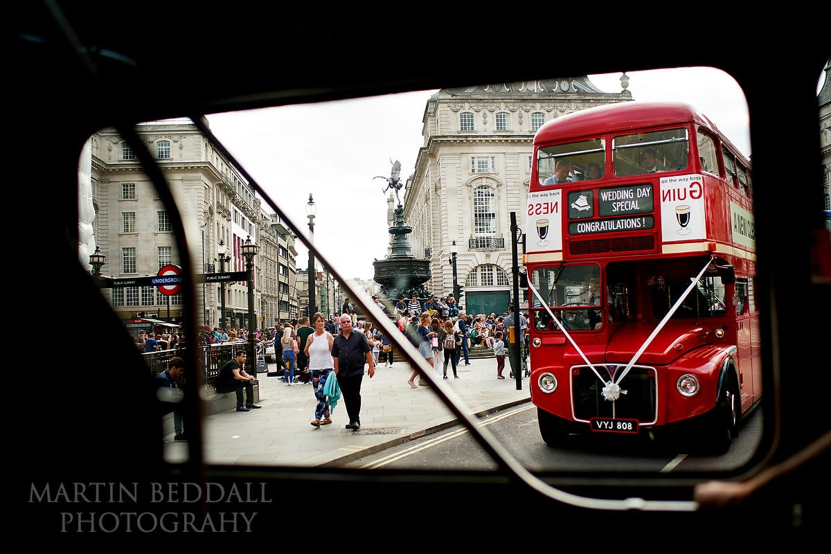 London wedding buses in Piccadilly Circus