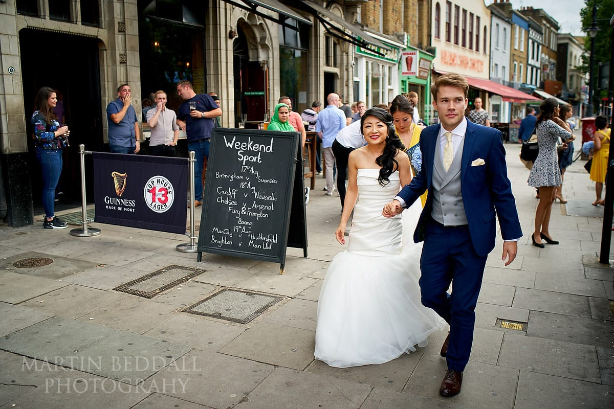 Bride and groom in Clapham