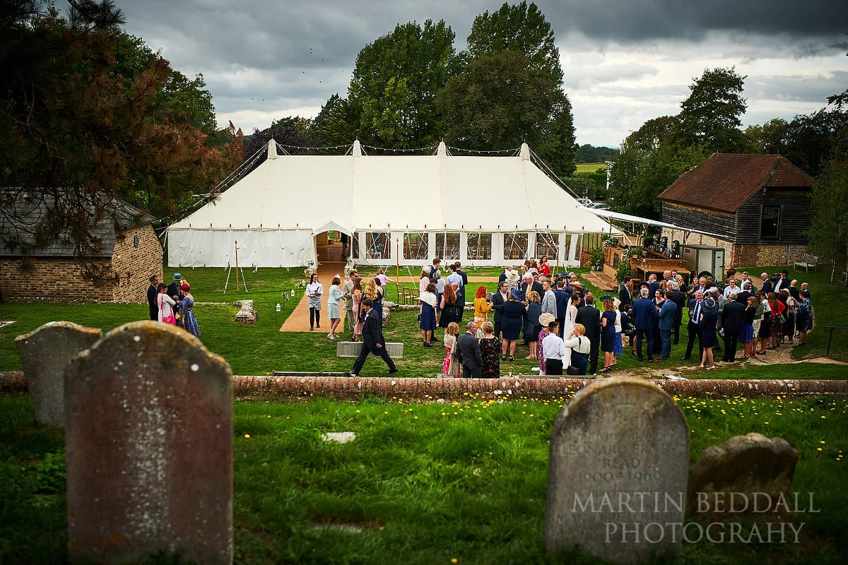 Wedding marquee on Ditchling village green