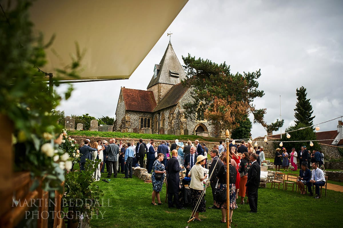 Wedding reception on the village green at Ditchling