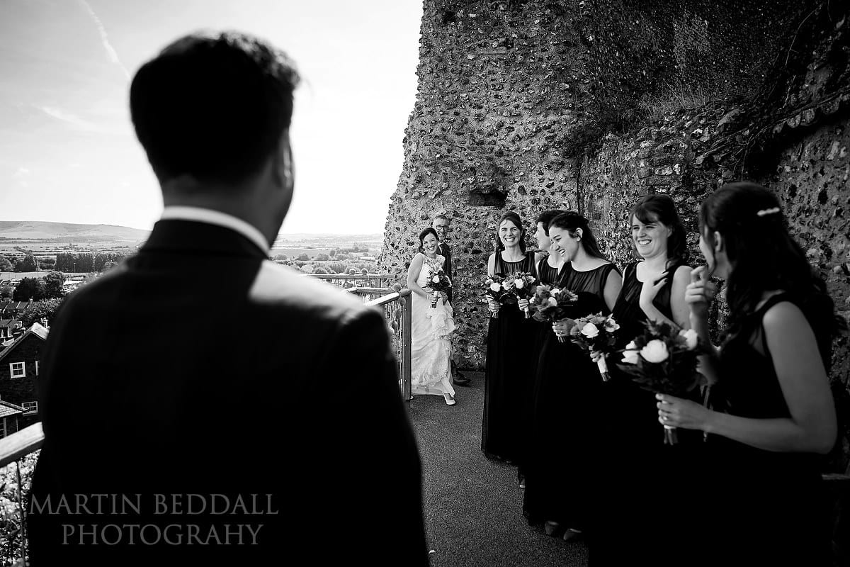 Bride reachses the top of the Motte at Lewes Castle