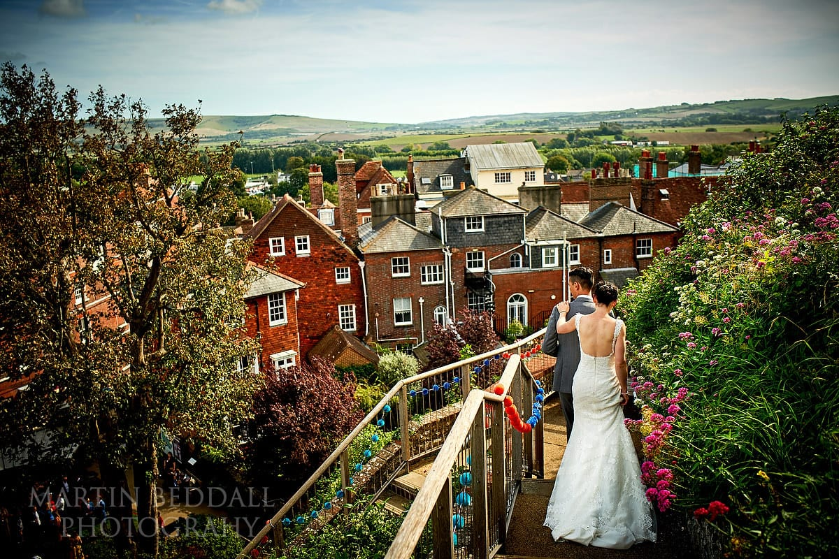 Bride and groom atop Lewes Castle