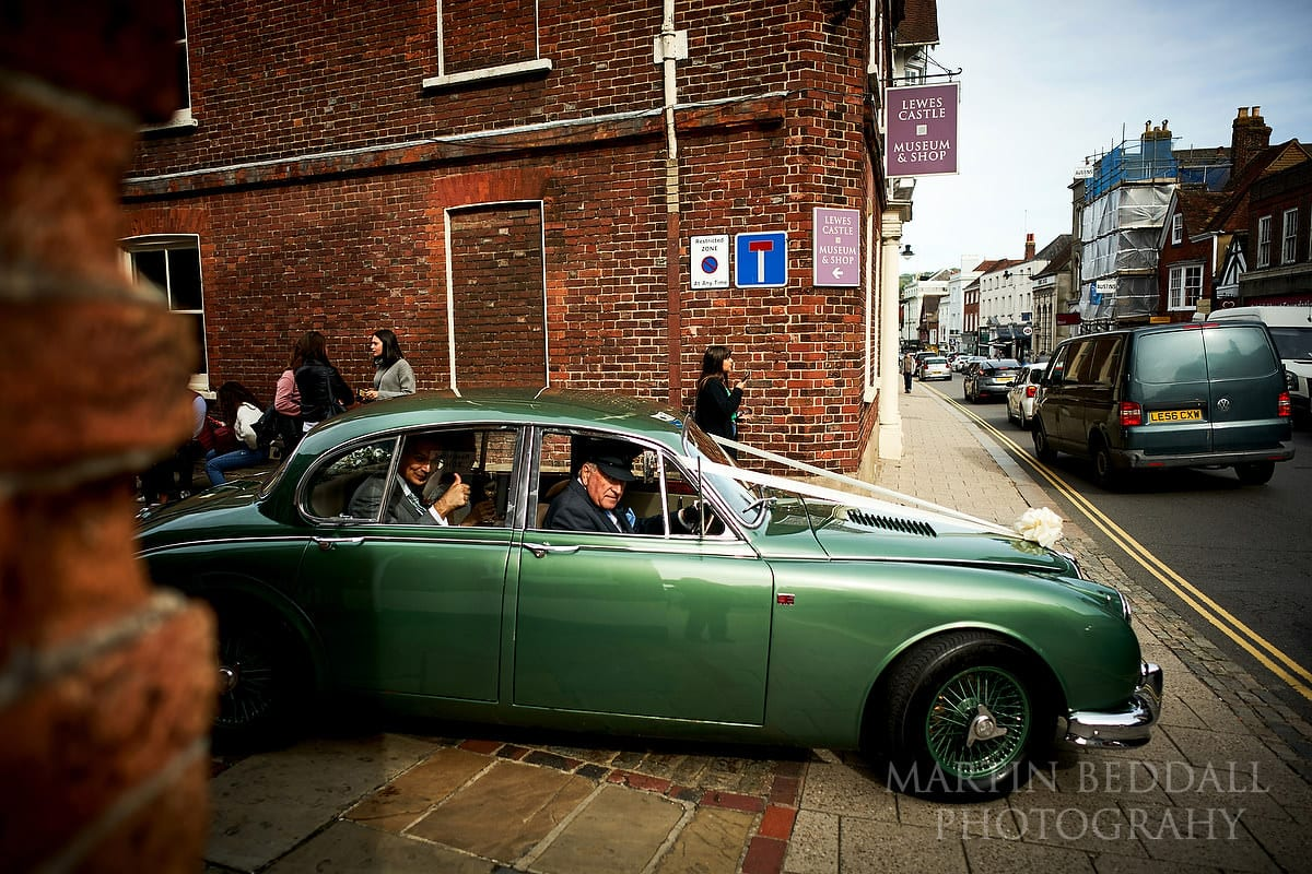 Wedding car heading away from Lewes